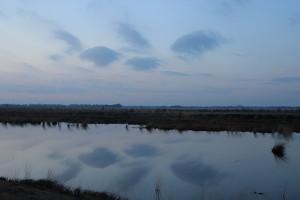 Wolken spiegeln sich im Wasser